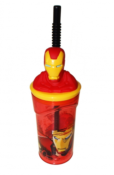 Superhero Iron Man Figurine '3d Head' Bottle with Straw