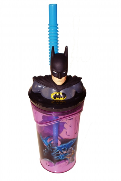 Batman Figurine '3d Head' Bottle with Straw