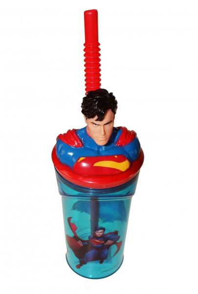 Superman Figurine '3d Head' Bottle with Straw