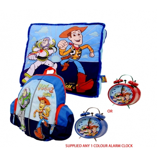 Disney Toy Story 3 'Buzz Woody' Cushion, Backpack and Alarm Clock Gift Set