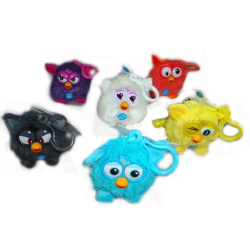 Furby 'Black, White, Blue, Yellow, Orange, Purple' Assorted 3 inch with Sound Keyring