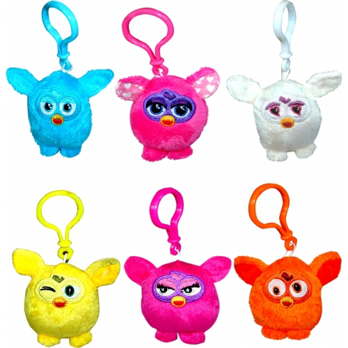 Furby 'Pink, White, Blue, Yellow, Orange' Assorted 3 inch Keyring