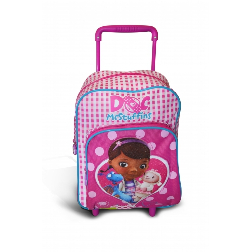 Disney Doc Mcstuffins 'Backpack Trolley' School Travel Trolley Roller Wheeled Bag