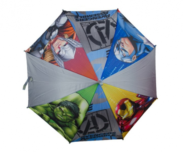 Avengers Boys 'Grey' Full Panel Automatic School Rain Brolly Umbrella