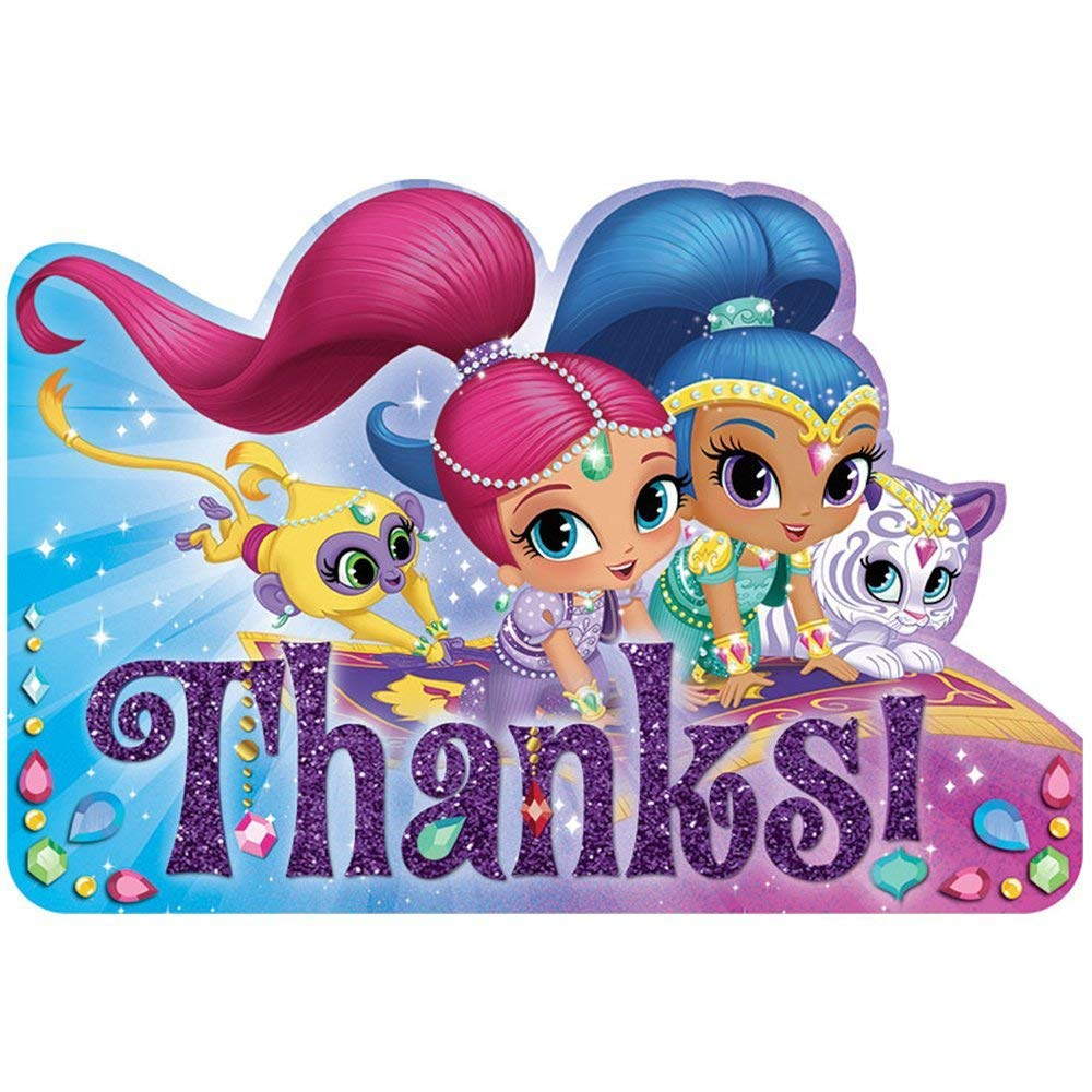 Shimmer & Shine Thanks Post Cards Party Accessories