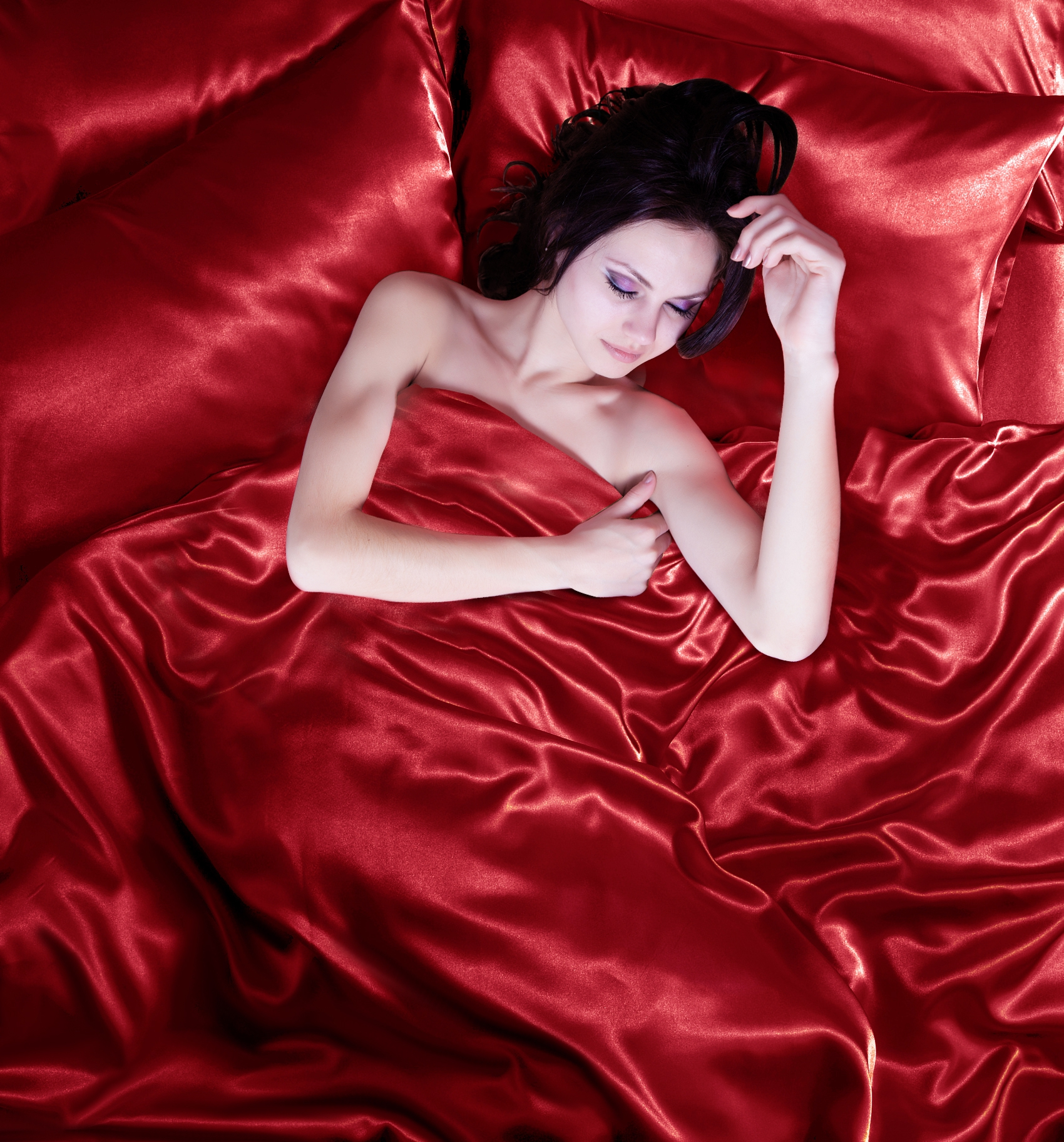 Red 6pc Satin Bedding Duvet Cover Set in single double King super king size