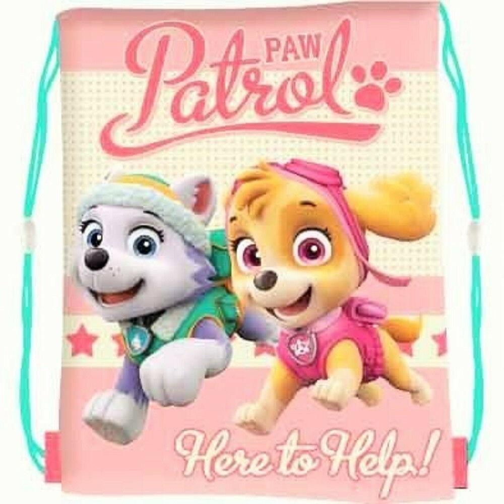 Paw Patrol Pink Kids Drawstring School Pe Gym Trainer Bag