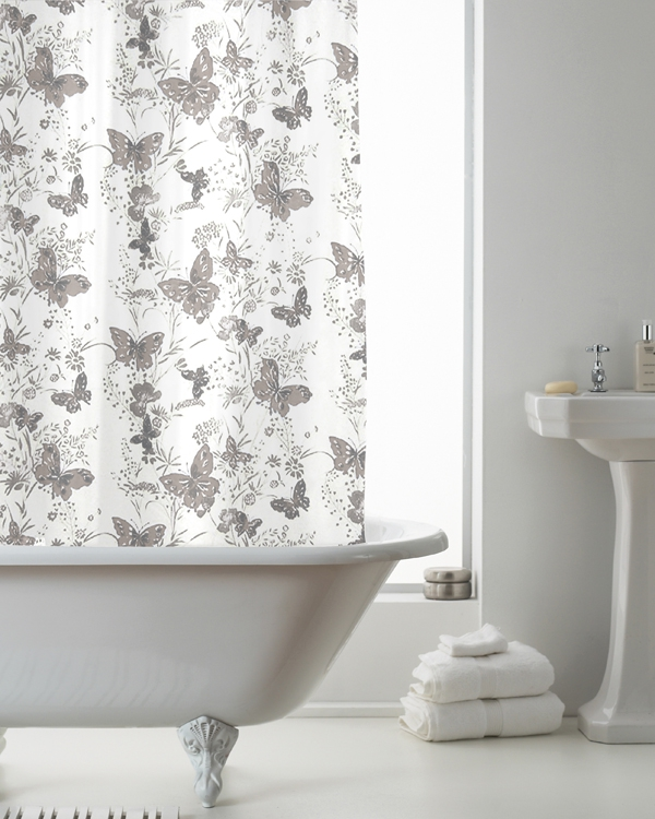Butterfly Grey with Hook Shower Curtain