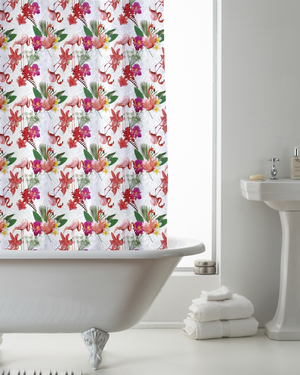 Flamingo with Hook Shower Curtain