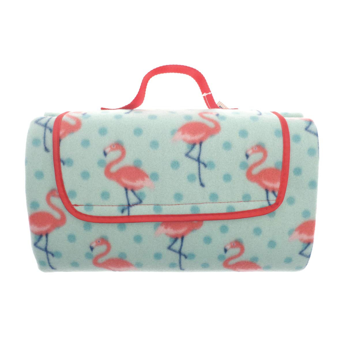 Al Fresco Waterproof Picnic Flamingo Rotary Fleece Blanket Throw