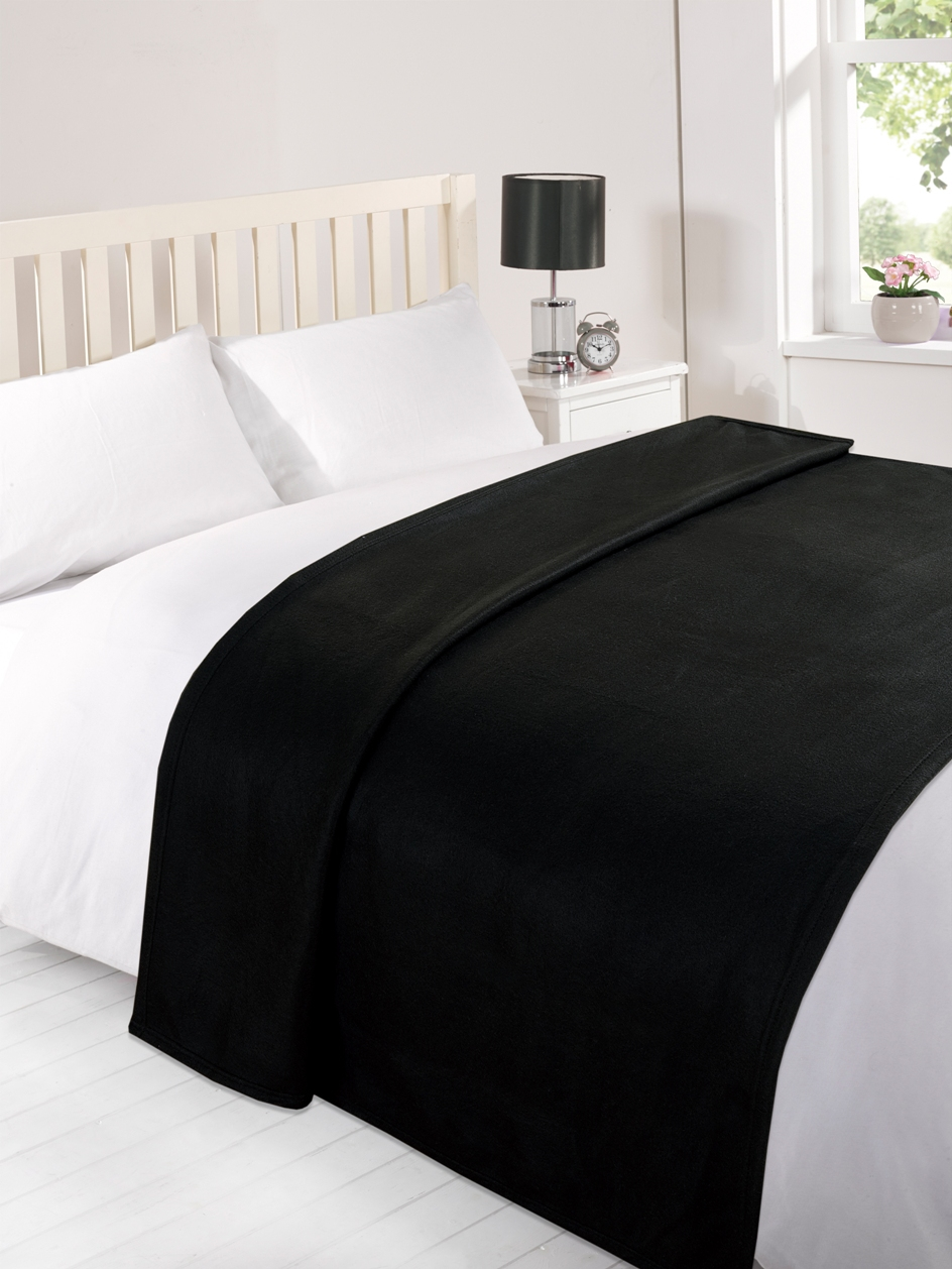 Warm Soft Black Panel Fleece Blanket Throw 5027434088973