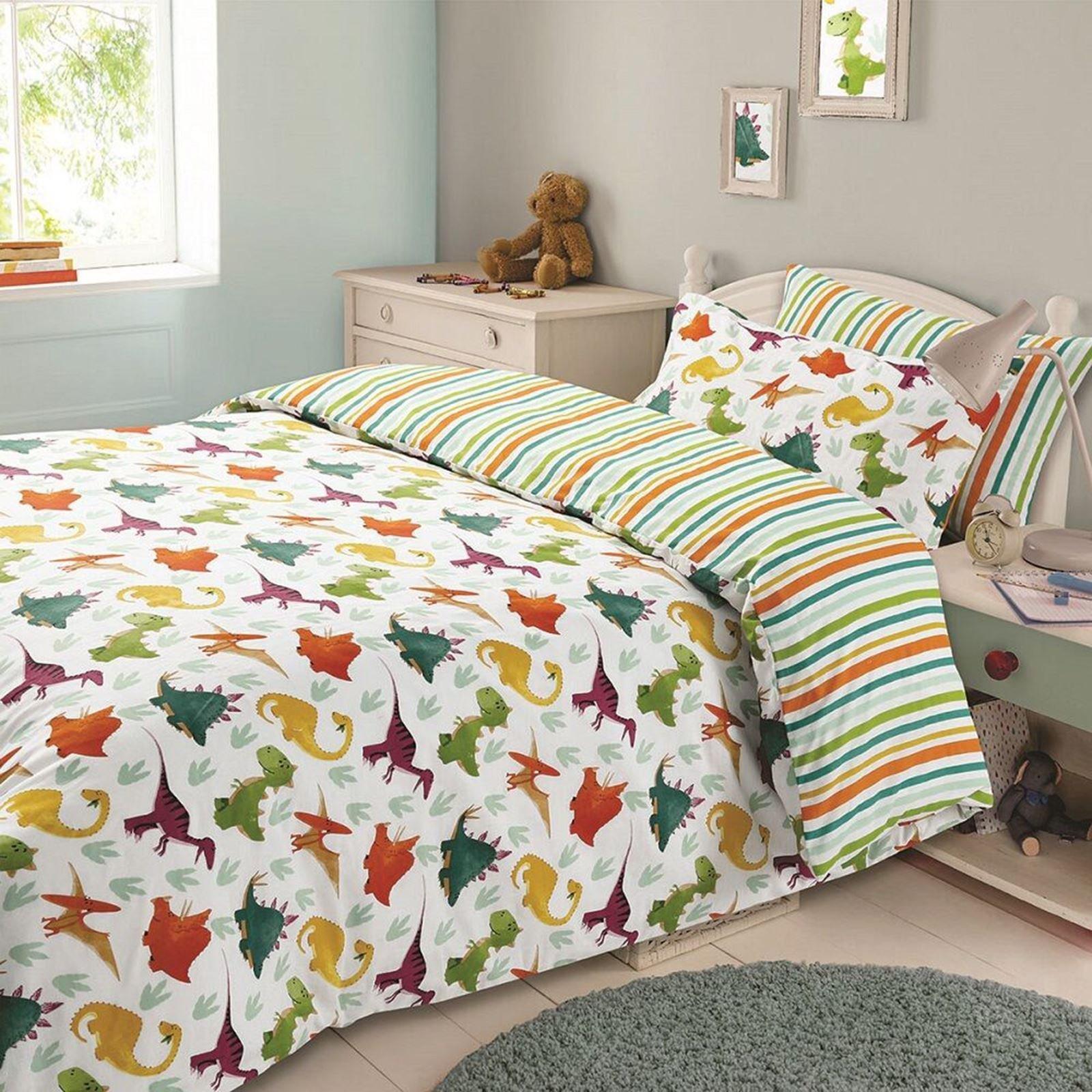 Dinosaur 'Multi' Reversible Rotary Single Bed Duvet Quilt Cover Set