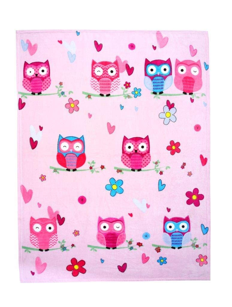 Luxury Kids Owl Pink Printed Rotary Fleece Blanket Throw