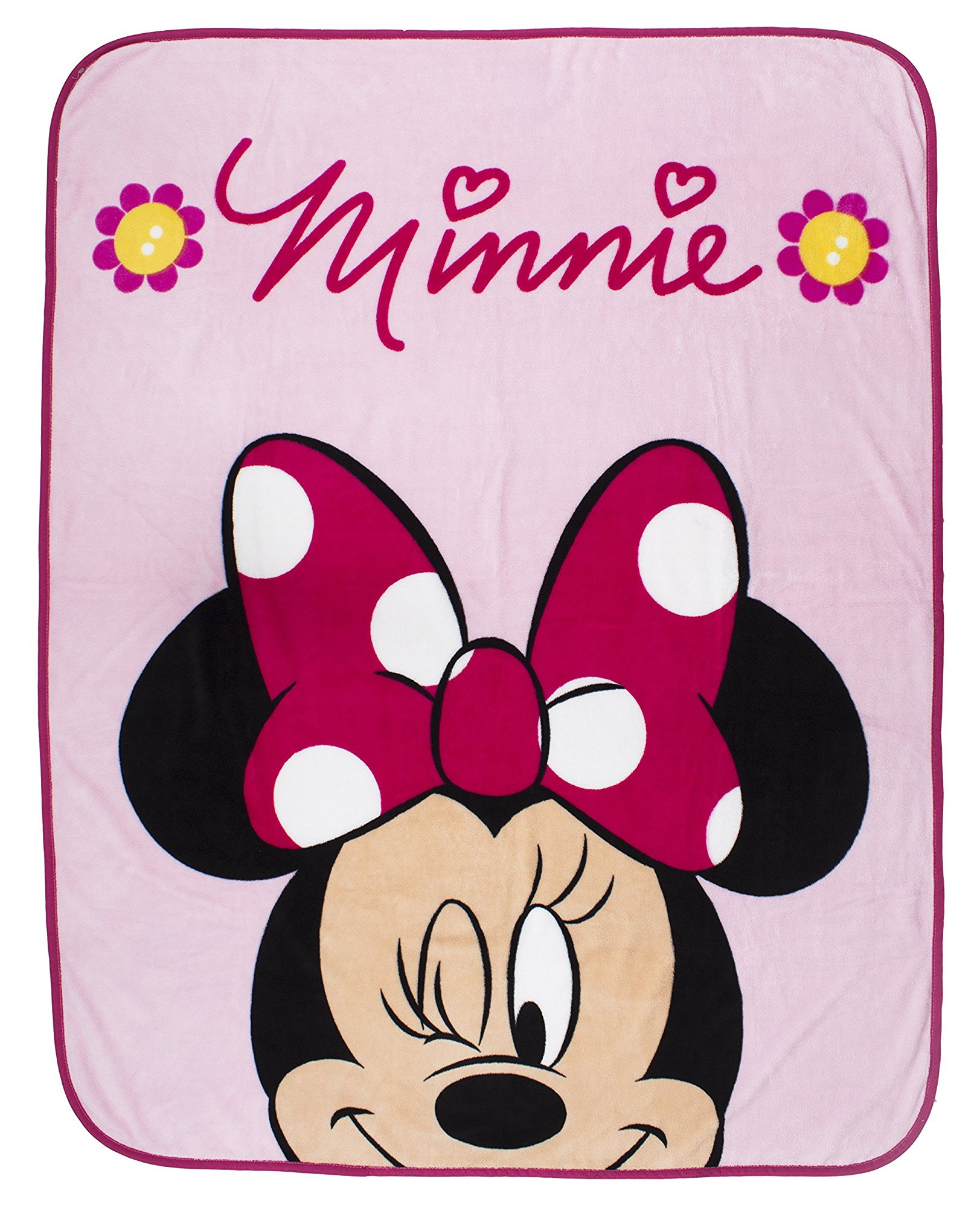 Disney Minnie Mouse 'Flowers' Coral Panel Fleece Blanket Throw