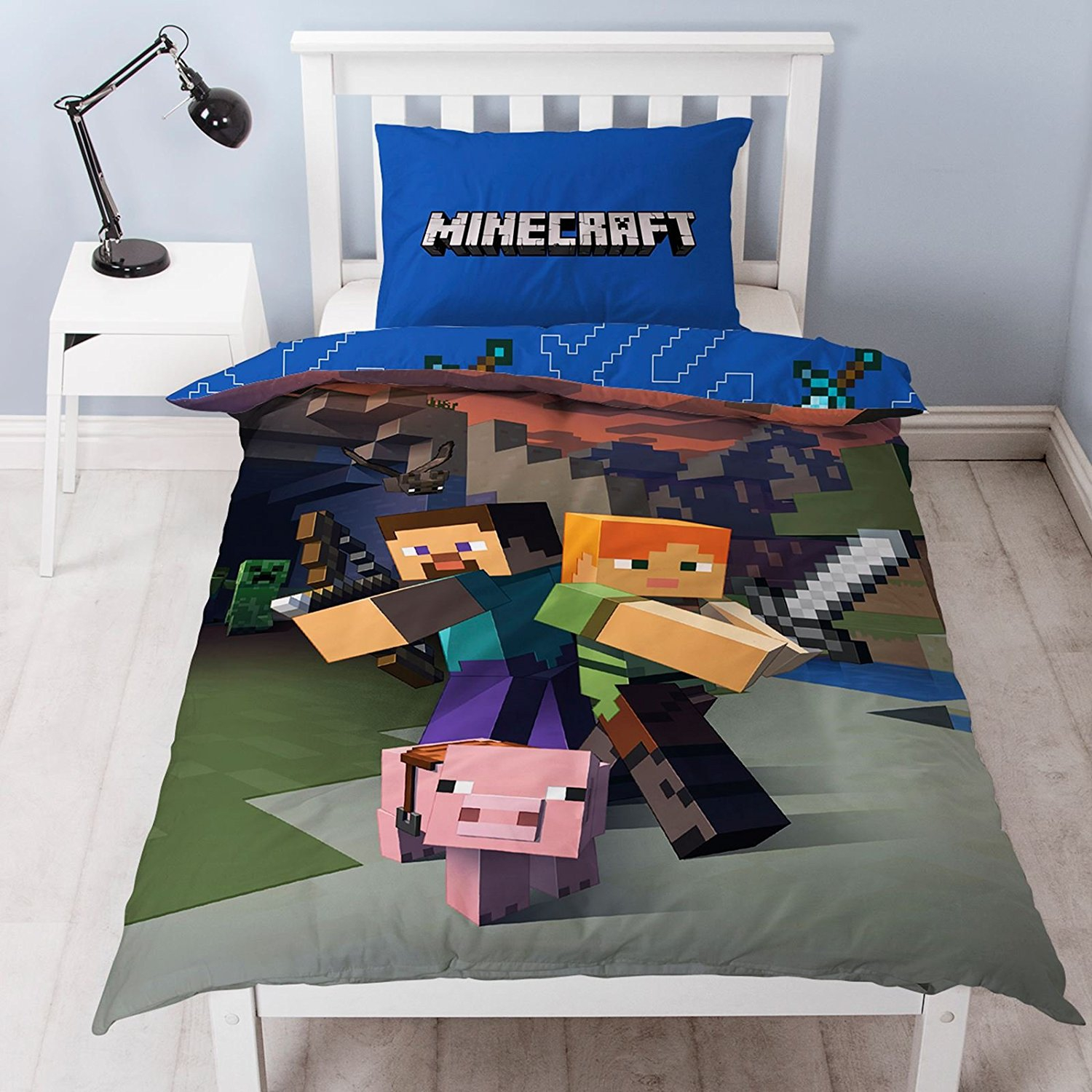 Minecraft Single Reversible Panel Bed Duvet Quilt Cover