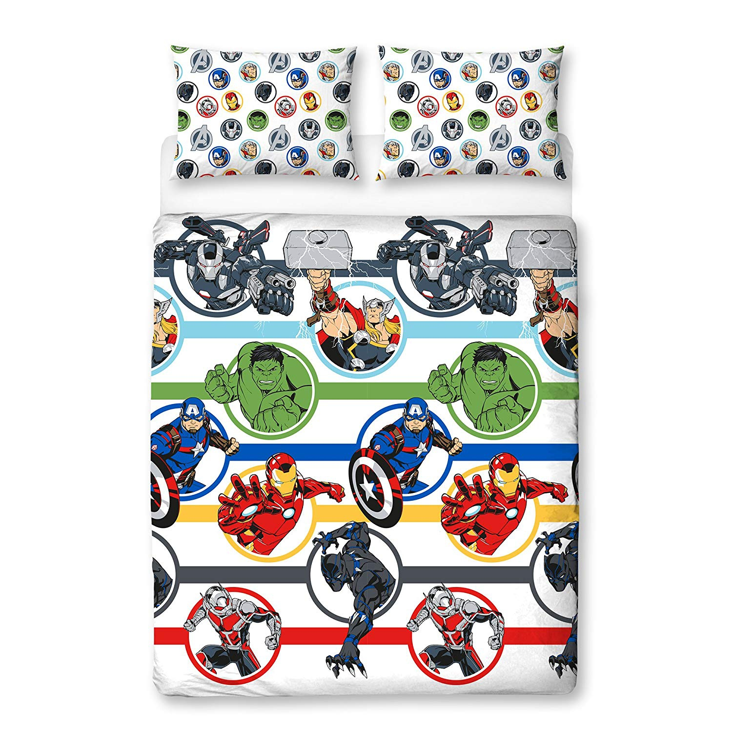 Marvel Avengers 'Strong' Rotary Double Bed Duvet Quilt Cover Set
