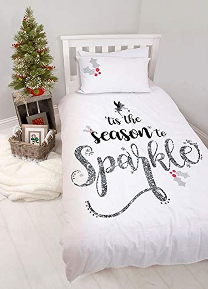 Disney Tinkerbell Fairies 'Mistletoe' Panel Single Bed Duvet Quilt Cover Set