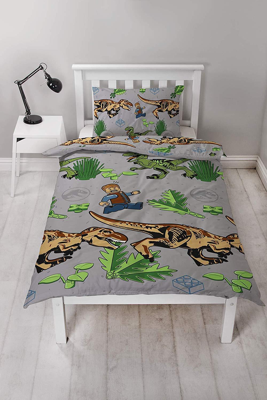 Lego Jurassic World Classic Reversible Rotary Single Bed Duvet Quilt Cover Set