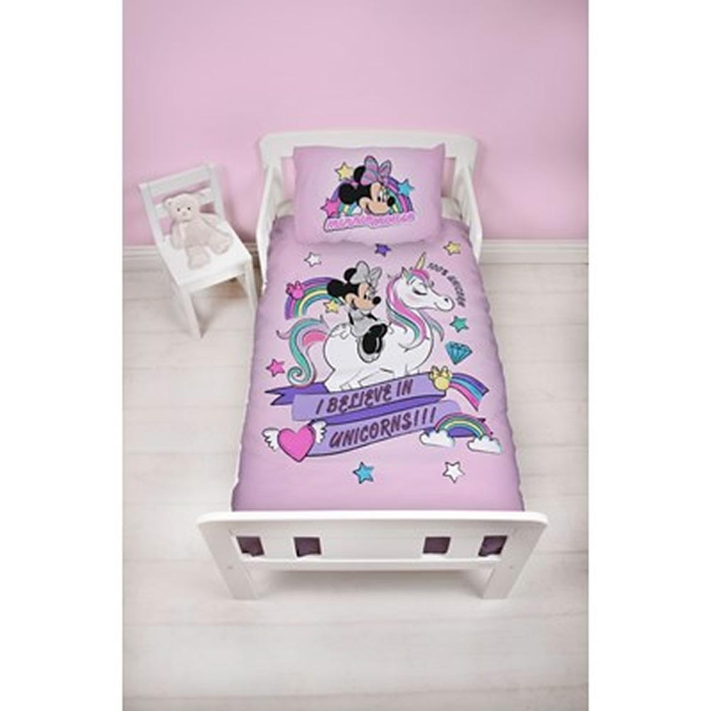 Disney Minnie Mouse I Believe In Unicorns !!! Panel Junior Cot Bed Duvet Quilt Cover Set