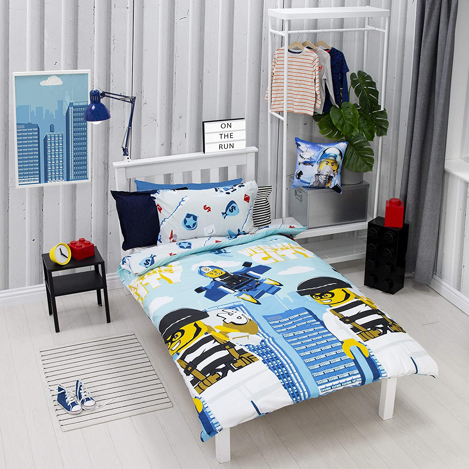 Lego City on The Run Reversible Rotary Single Bed Duvet Quilt Cover Set