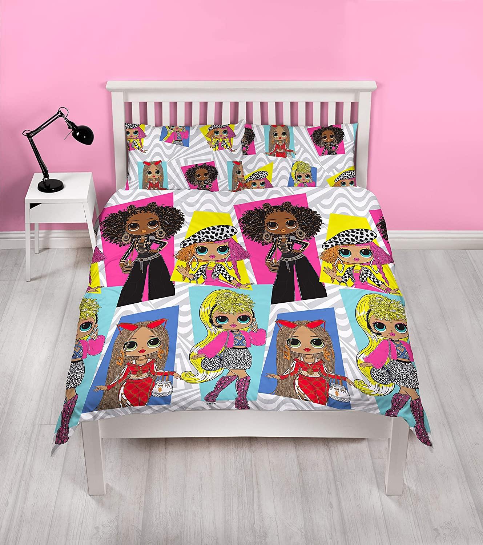L.o.l Surprise Omg! Buzz Girls Panel Double Bed Duvet Quilt Cover Set