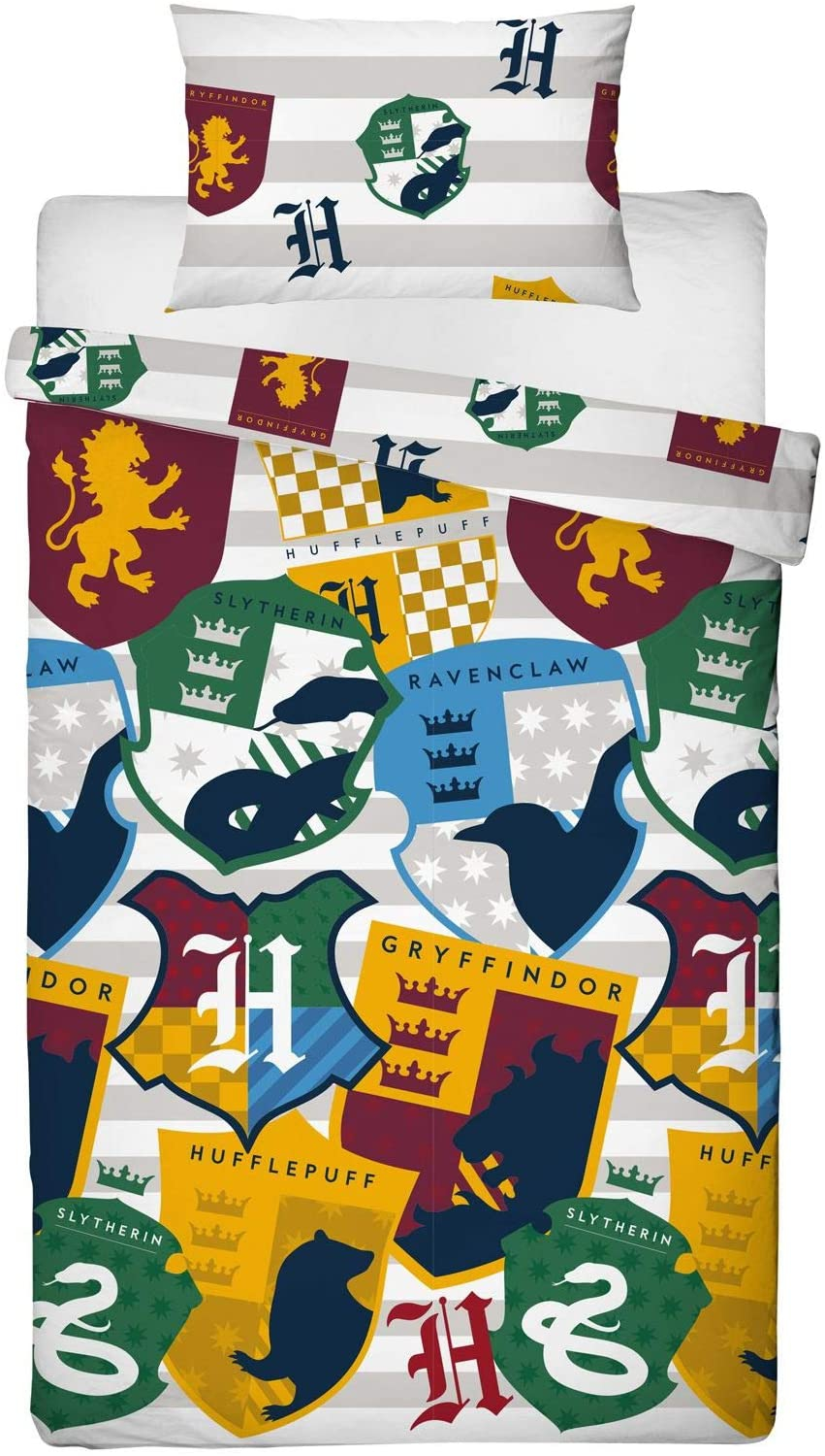 Harry Potter Stickers Single Reversible Duvet Rotary Bed Quilt Cover Set