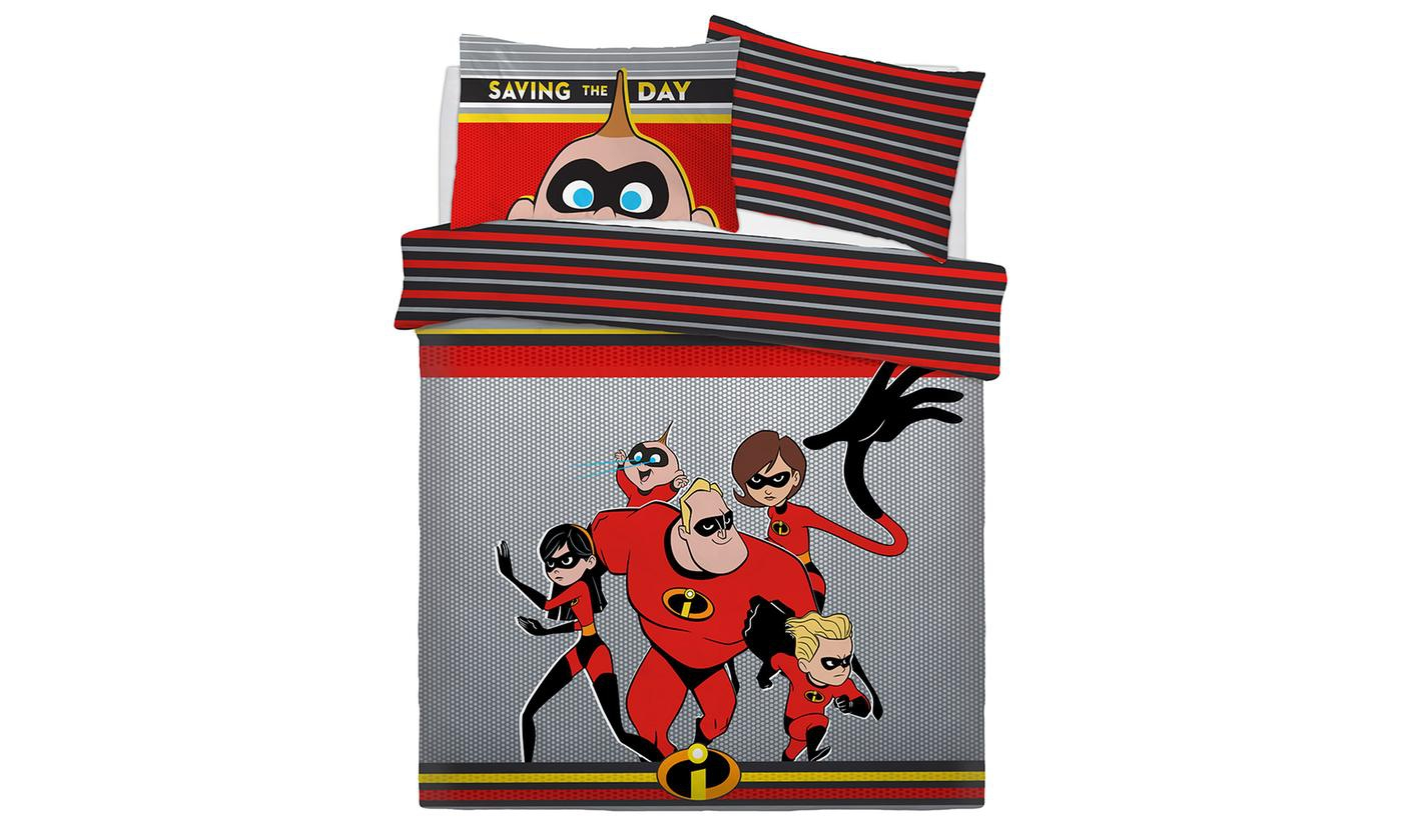 Disney Incredibles Saving The Day Rotary Double Bed Duvet Quilt Cover Set