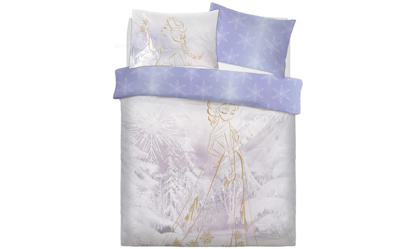 Disney Frozen Rose Gold Panel Double Bed Duvet Quilt Cover Set
