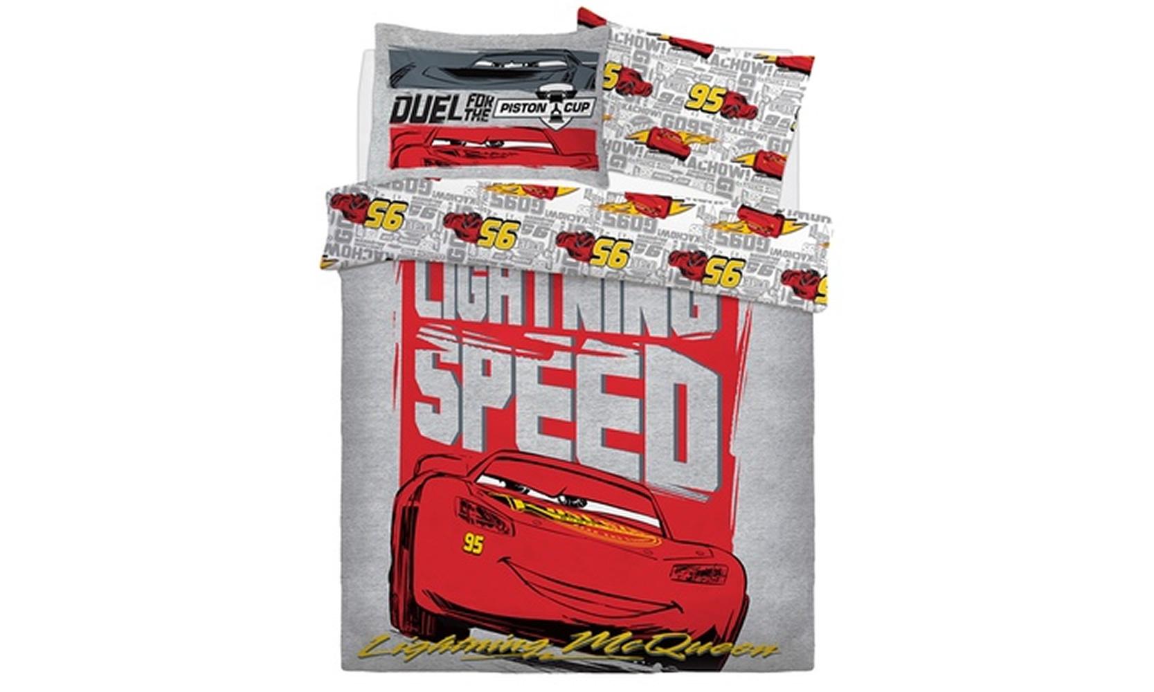 Disney Cars Lightning Speed Reversible Panel Single Bed Duvet Quilt Cover Set