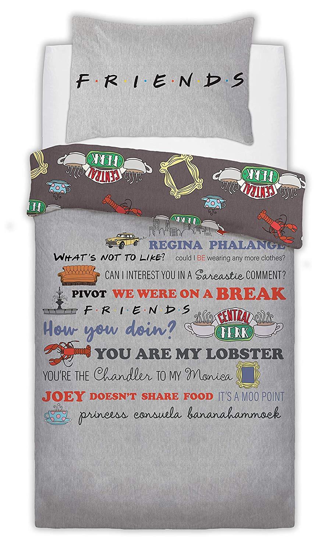 Friend Slogan Panel Single Bed Duvet Quilt Cover Set