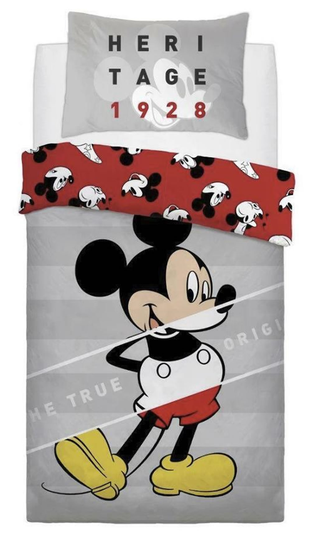 Disney Mickey Mouse True Original Panel Single Bed Duvet Quilt Cover Set