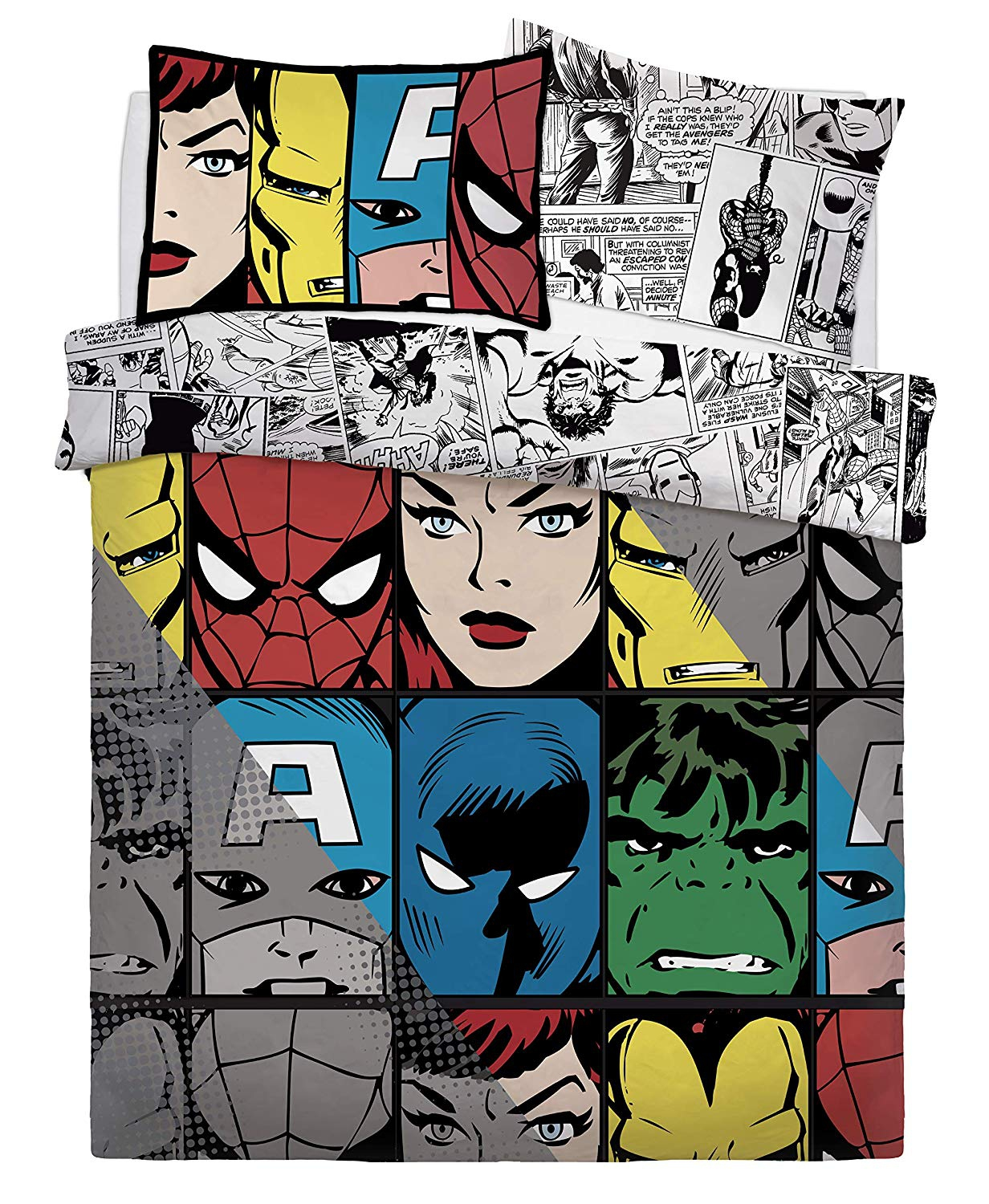 Marvel Comic Tones Rotary Double Bed Duvet Quilt Cover Set