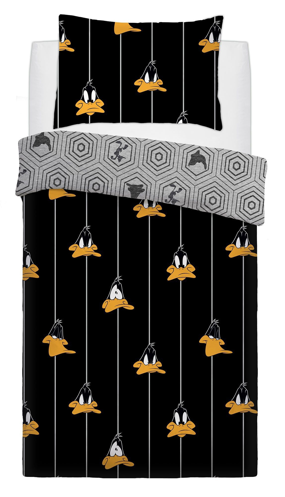 Looney Tunes Graphic Daffy Duck Panel Single Bed Duvet Quilt Cover Set