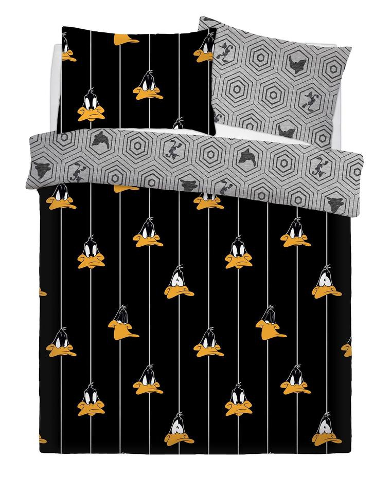 Disney Looney Tunes Graphic Daffy Rotary Double Bed Duvet Quilt Cover Set
