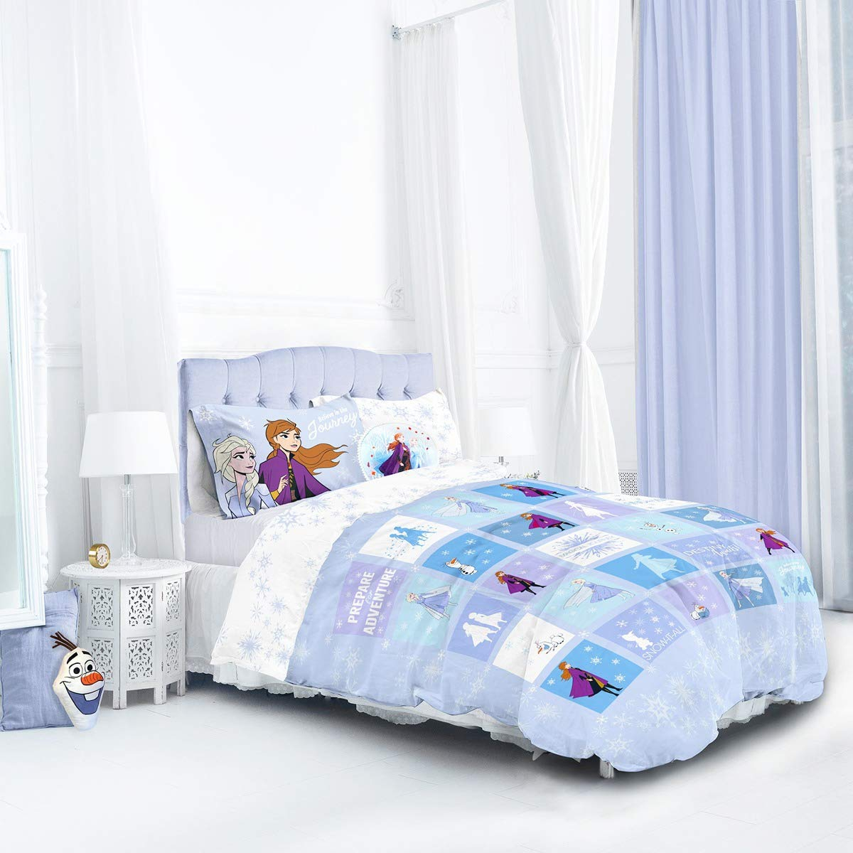 Disney Frozen 2 Patchwork Kids Reversible Panel Double Bed Duvet Quilt Cover Set