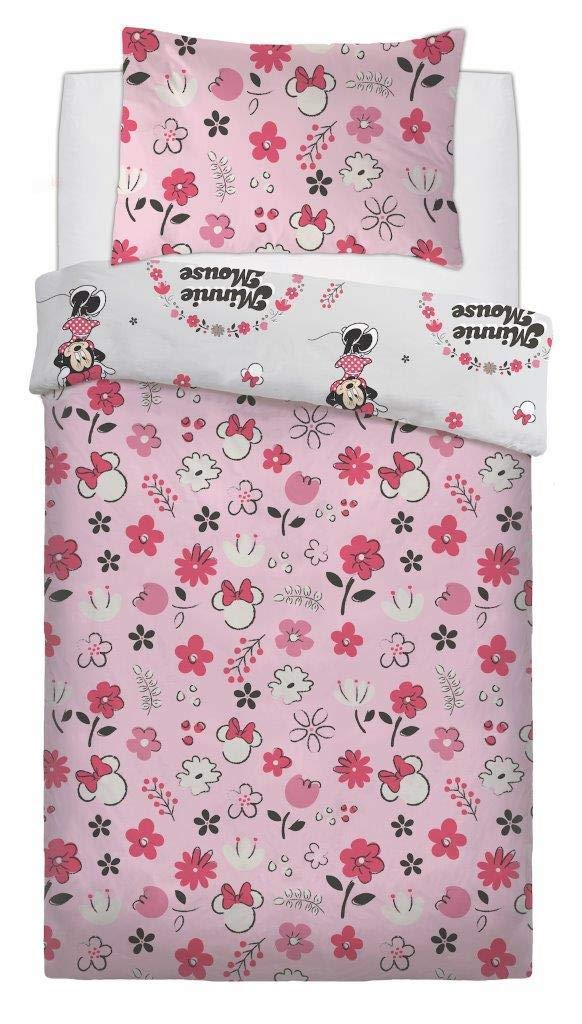 Disney Minnie Mouse 'Floral Wink' Rotary Single Bed Duvet Quilt Cover Set