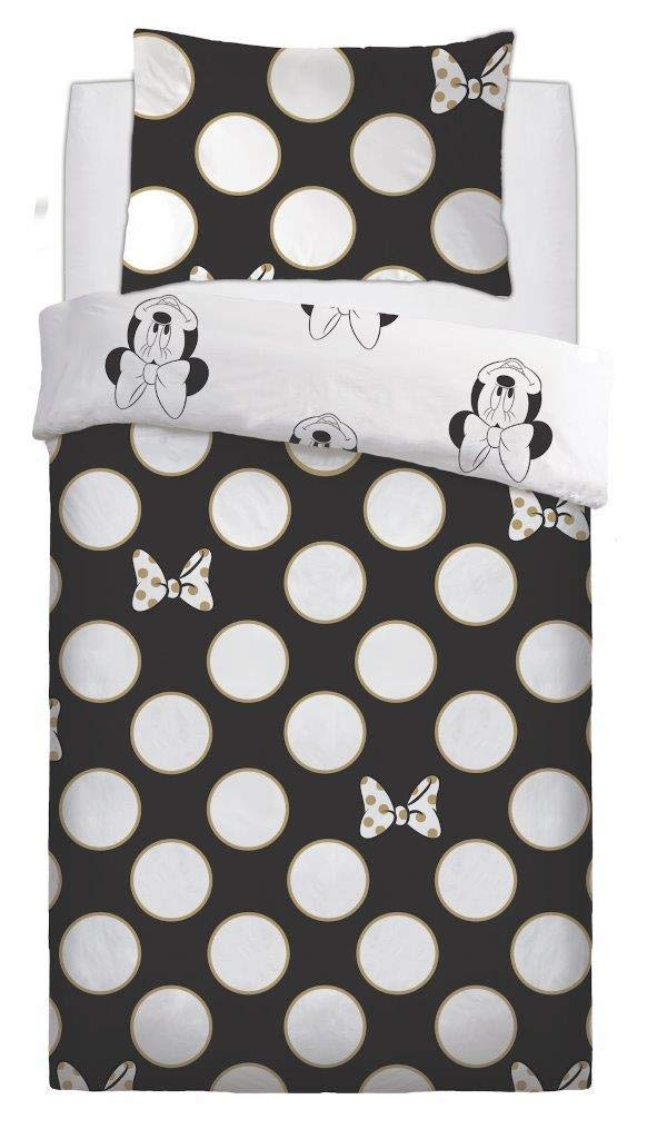 Disney Minnie Mouse 'Gold Bows' Rotary Single Bed Duvet Quilt Cover Set