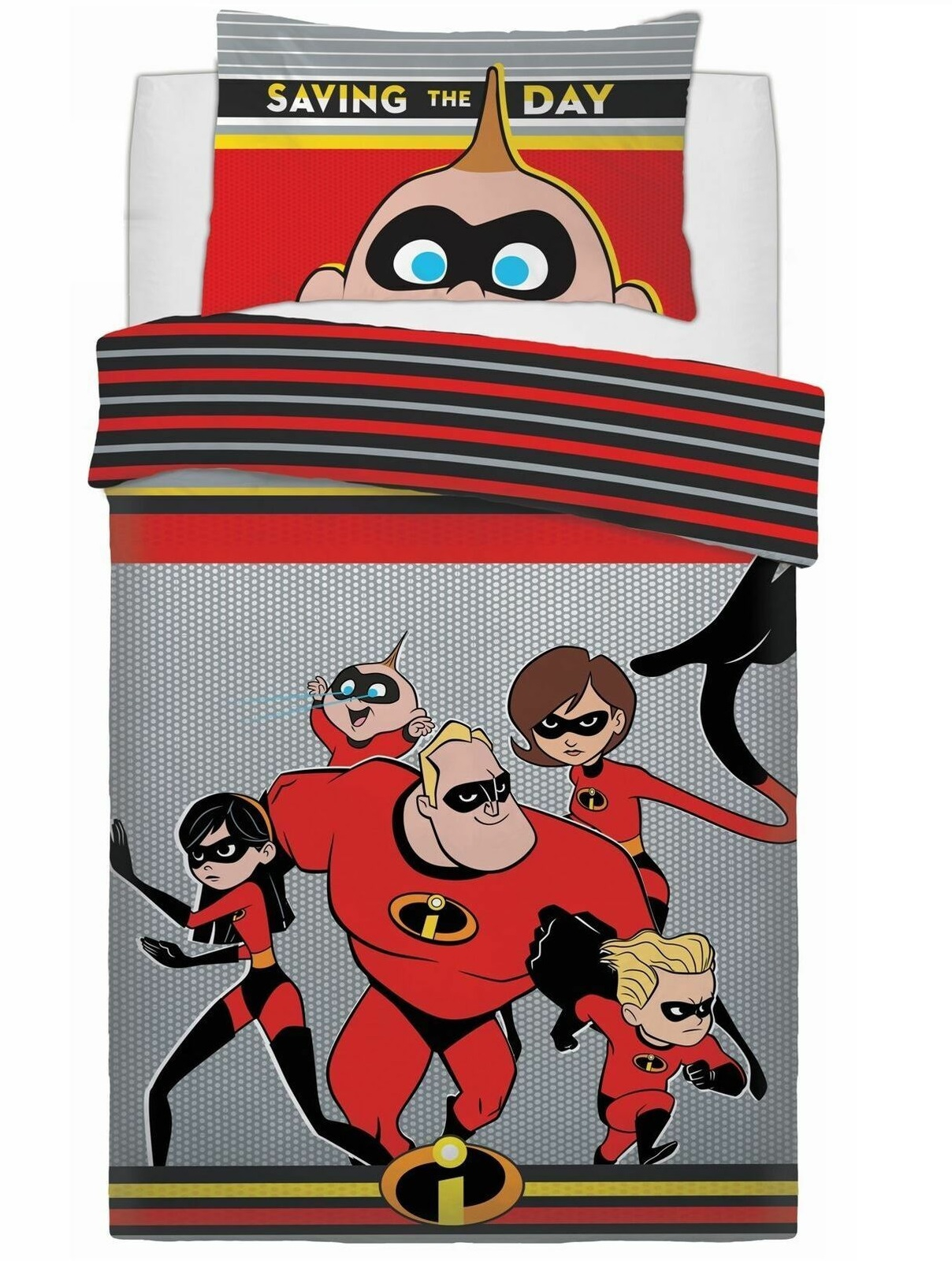Disney Incredibles Saving The Day Reversible Panel Single Bed Duvet Quilt Cover Set