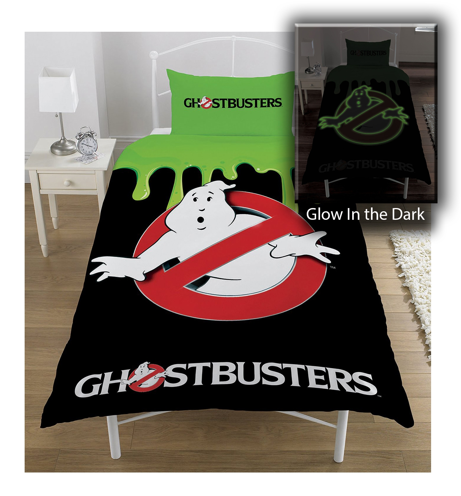 Ghostbusters No Ghost Glow In The Dark Panel Single Bed