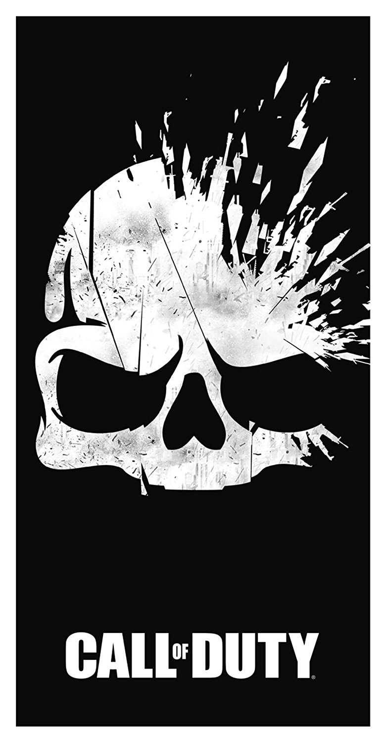 Call of Duty Broken 'Skull' Black Printed Beach Towel