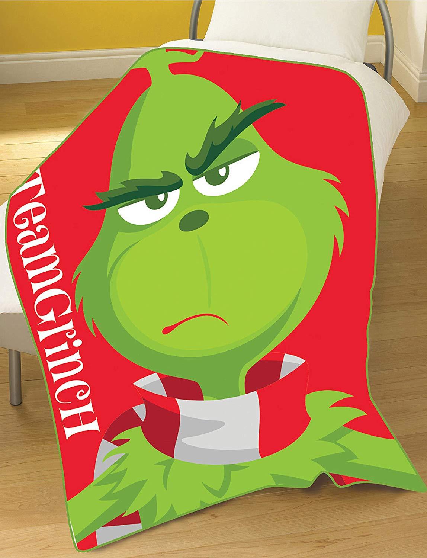 The Grinch Movie Team Panel Fleece Blanket Throw