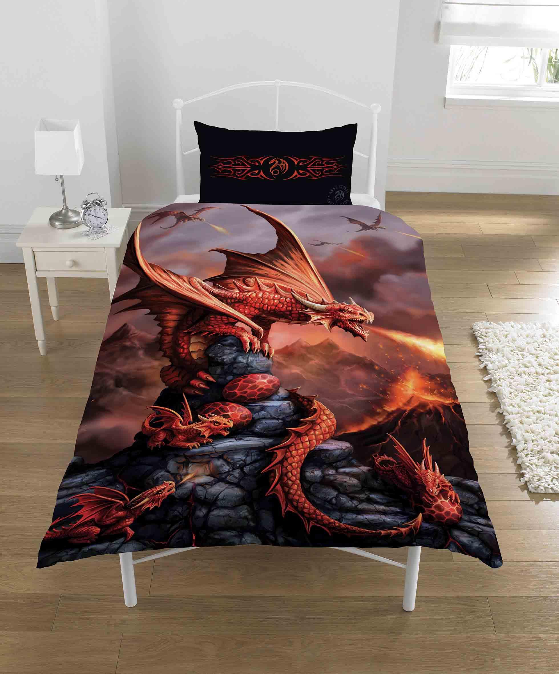 Anne Stokes Fire Dragon Panel Single Bed Duvet Quilt Cover Set