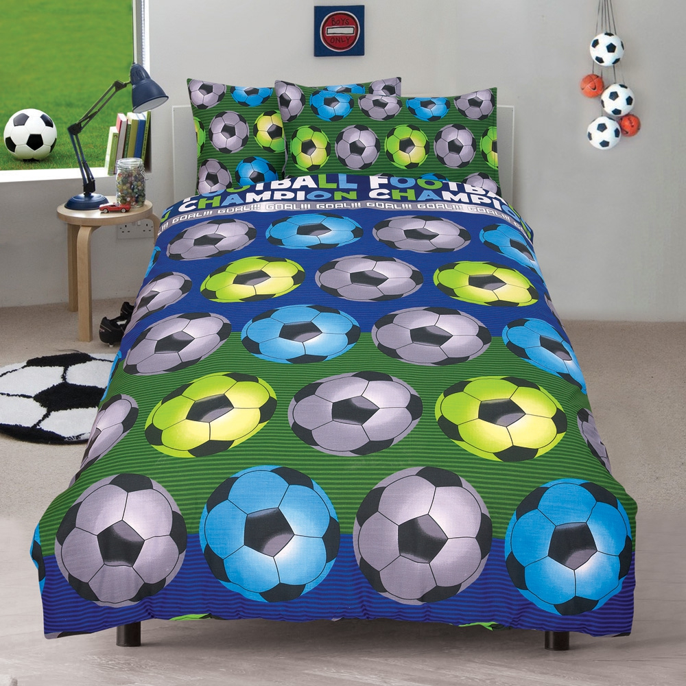 Football 'Champion' Blue Reversible Fc Rotary Double Bed Duvet Quilt Cover Set