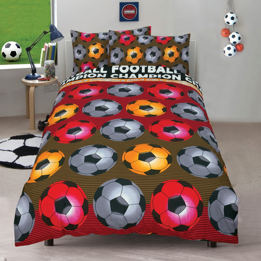 Football 'Champion' Red Reversible Fc Rotary Double Bed Duvet Quilt Cover Set