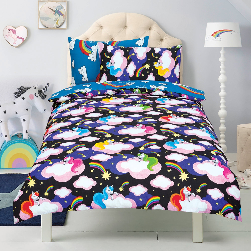 Unicorn 'Believe In Your Dreams' Black Reversible Rotary Double Bed Duvet Quilt Cover Set