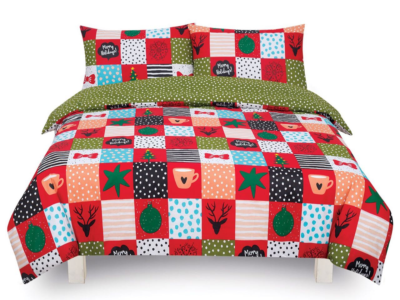 Festive season red single double king duvet cover set