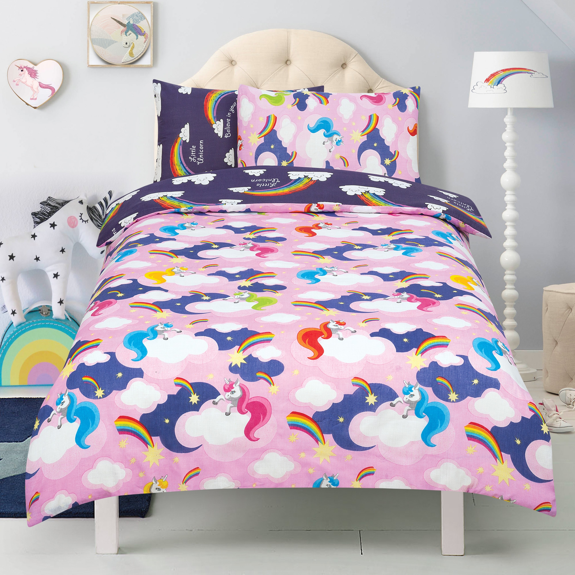 Unicorn 'Believe In Your Dreams' Baby Pink Reversible Purple Rotary Double Bed Duvet Quilt Cover Se