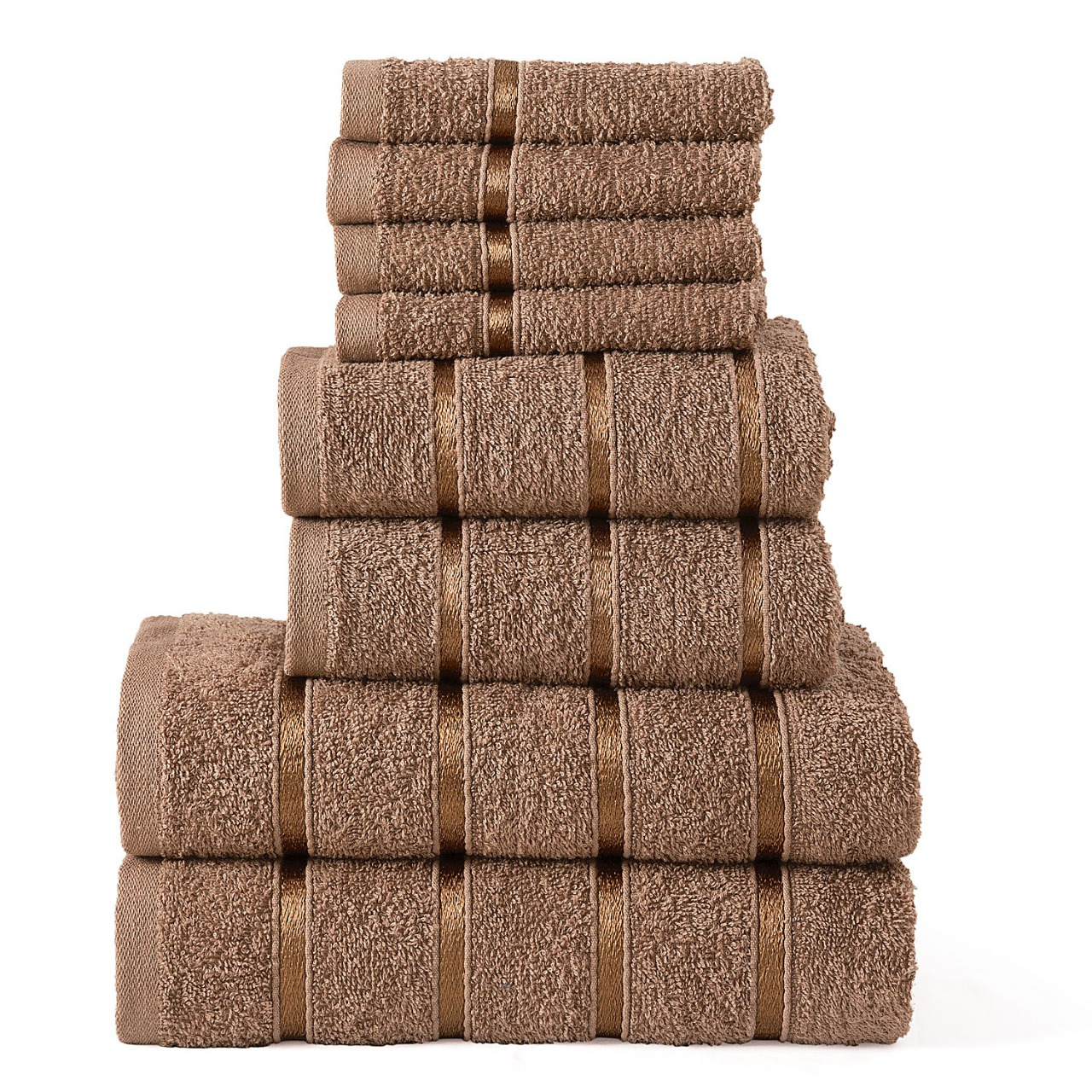 8 Pcs 100% Cotton Mocha Premium Bale Set Plain Towel
