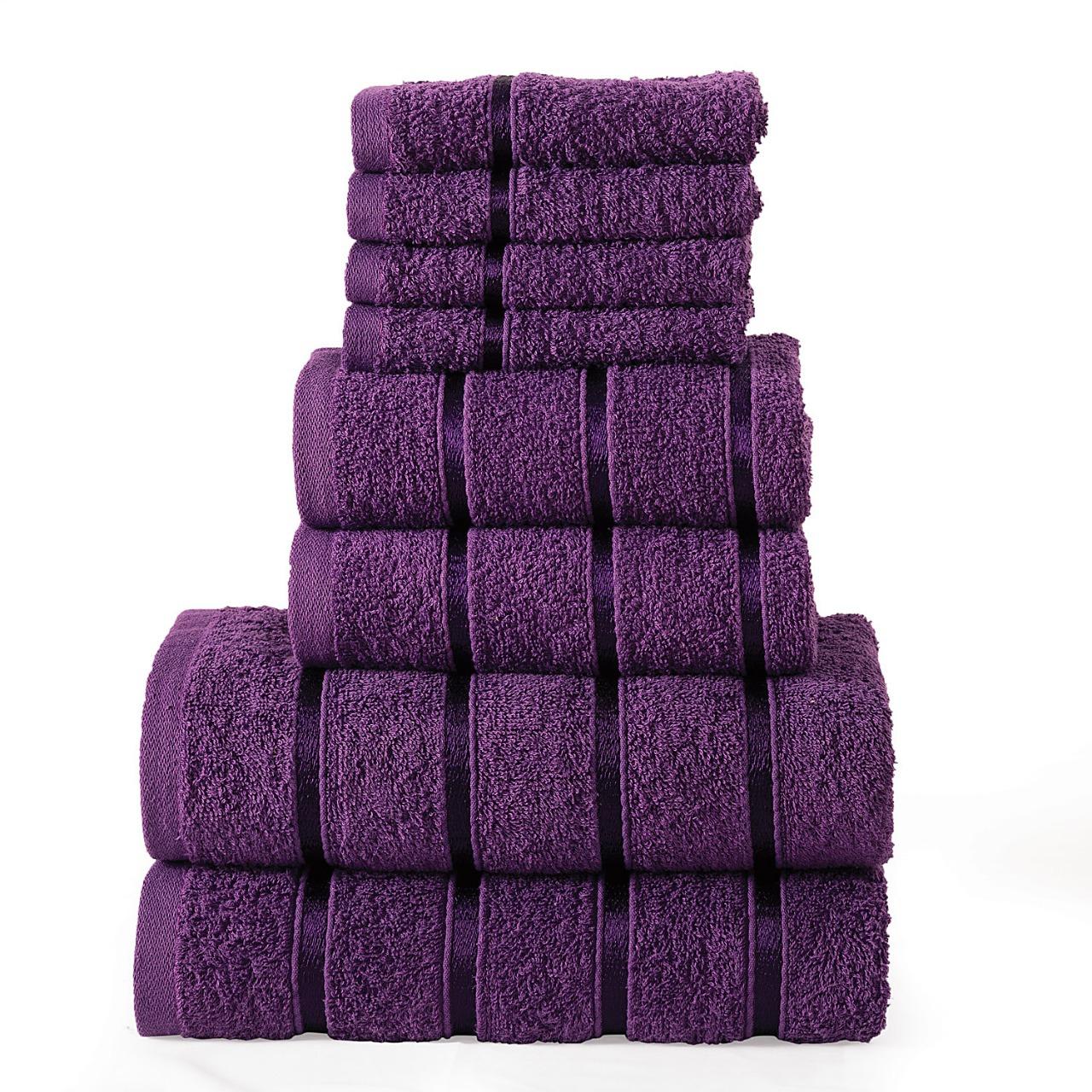 8 Pcs 100% Cotton Purplepremium Bale Set Plain Towel