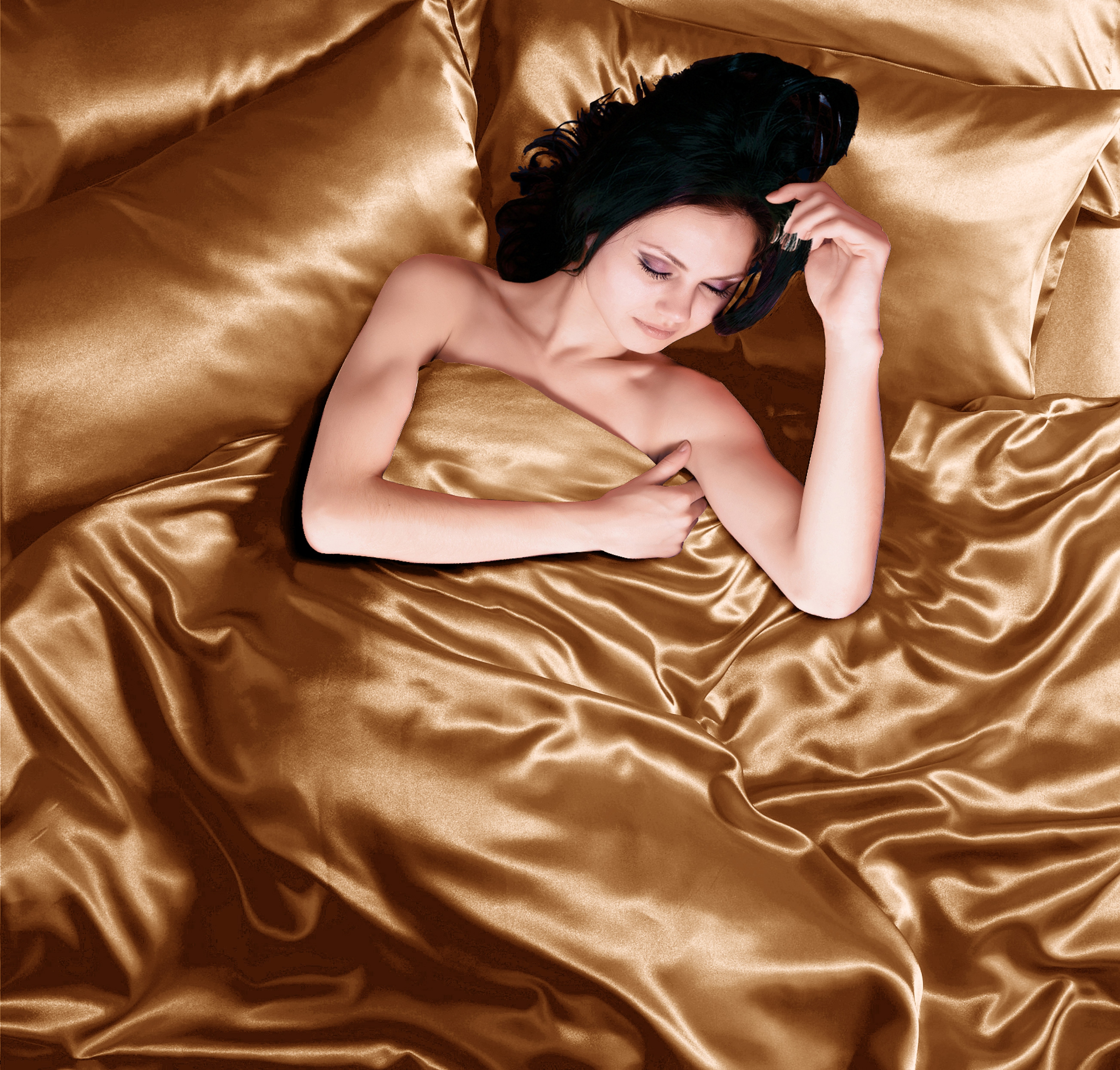 Todd Linens Gold 6pc Satin Panel Double Bed Duvet Quilt Cover Set